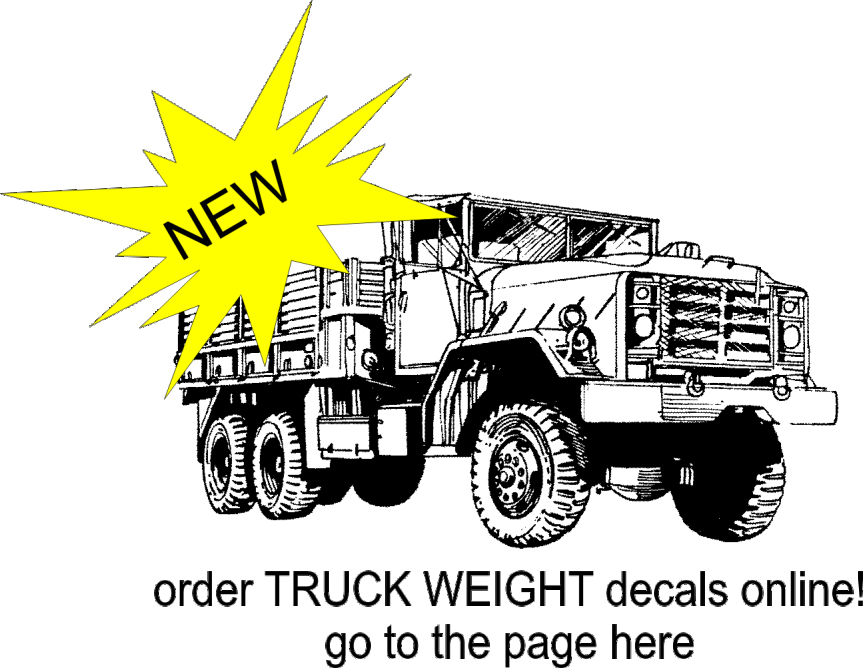 order TRUCK WEIGHT DECALS for GVW and TARE